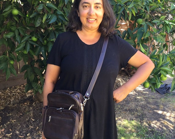 Leather brown square purse bag Leather purse crossbody built in wallet, tablet pocket, fully adjustable strap