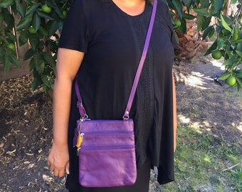 Leather purple crossbody purse bag 5 zippered pockets, fully adjustable strap