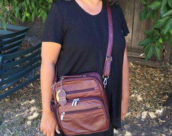 Leather burgundy square purse bag Leather purse crossbody built in wallet, tablet pocket, fully adjustable strap