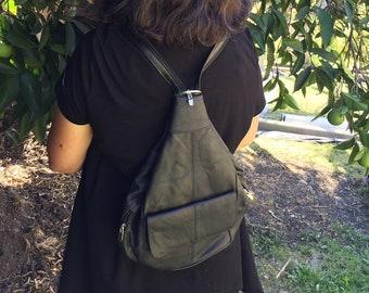 Leather black backpack purse bag with adjustable strap