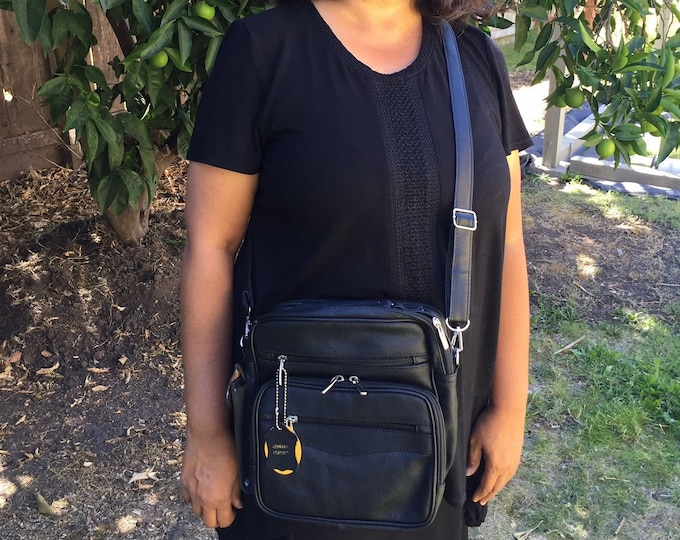 Leather black square purse bag Leather purse crossbody built in wallet, tablet pocket, fully adjustable strap