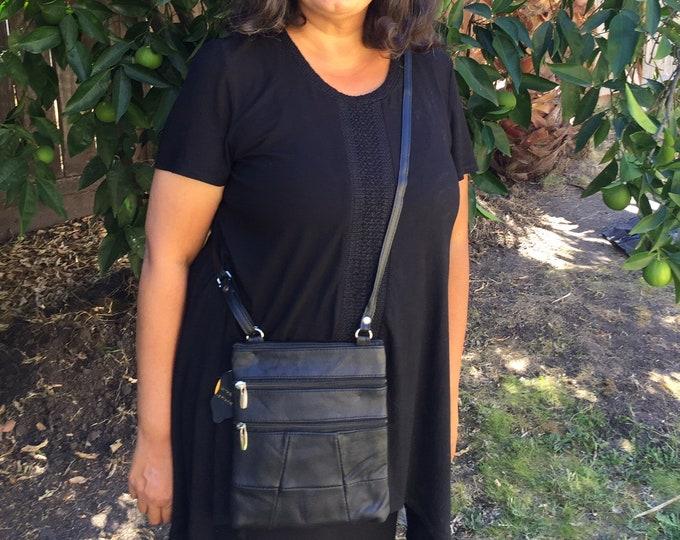 Leather black crossbody purse bag 5 zippered pockets, fully adjustable strap
