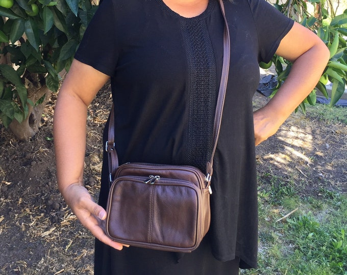 Leather brown crossbody purse bag boxy, 3 zippered roomy compartments, adjustable strap