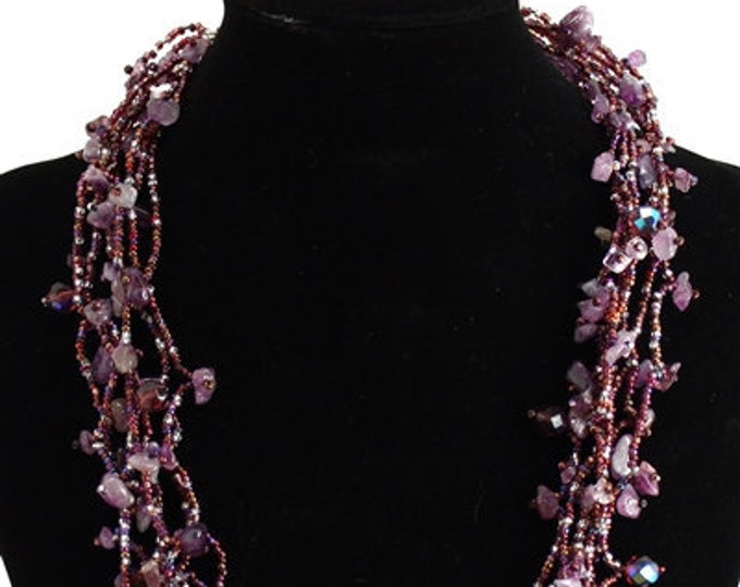Hand beaded purple amethyst multistrand necklace, magnetic clasp, 24 inches