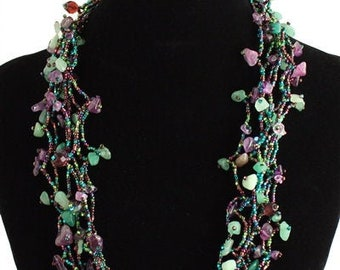 Hand beaded purple amethyst green multistrand necklace, magnetic clasp, 24 inches