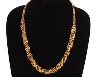 Hand beaded gold iridescent earth tones DNA helix necklace, magnetic clasp, 24 inches