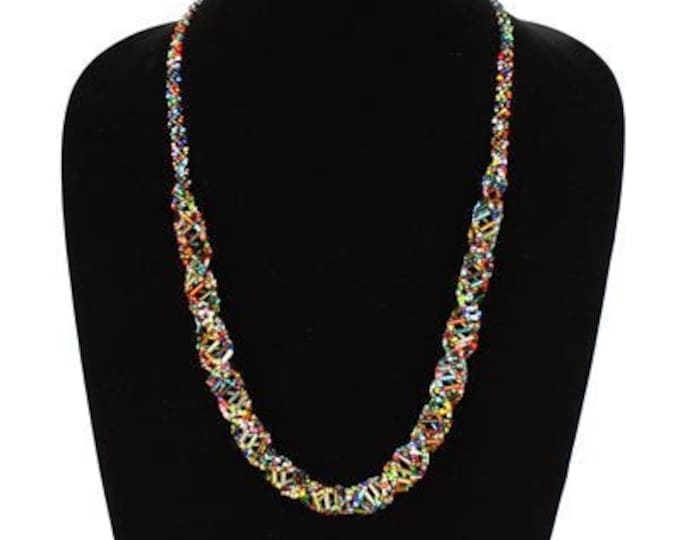 Hand beaded multicolored iridescent DNA helix necklace, magnetic clasp, 24 inches