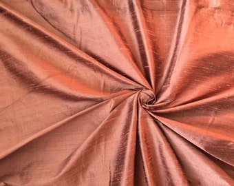 "Copper Coffee Brown 100% dupioni silk fabric yardage By the Yard 45"" wide FREE SHIPPING"