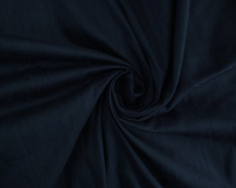 "Dark Navy Blue 100% dupioni silk fabric yardage By the Yard 45"" wide"