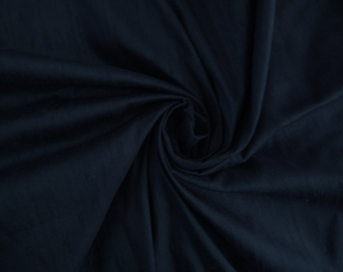 "Dark Navy Blue 100% dupioni silk fabric yardage By the Yard 45"" wide FREE SHIPPING"