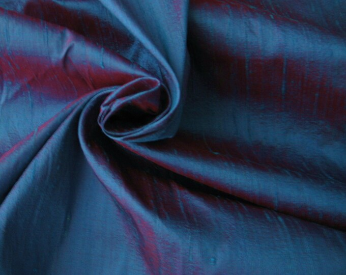 "Blue Red iridescent 100% dupioni silk fabric yardage By the Yard 45"" wide"