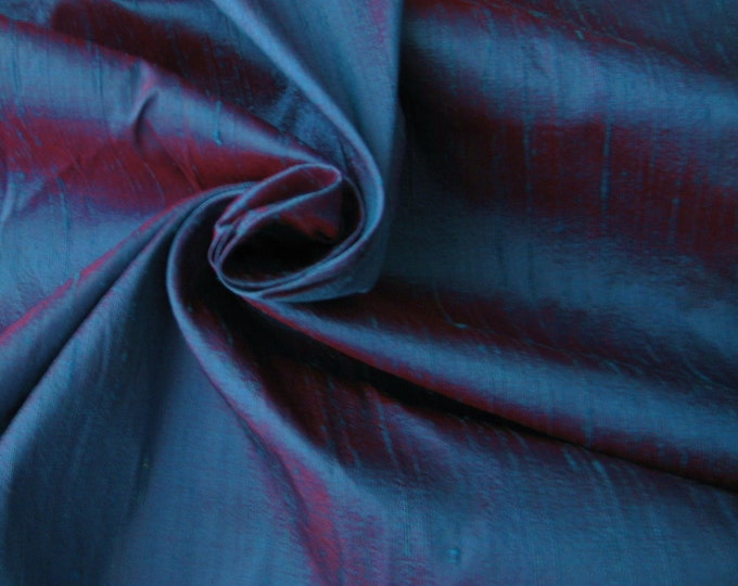 "Blue Red iridescent 100% dupioni silk fabric yardage By the Yard 45"" wide FREE SHIPPING"