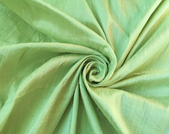 "Light Green 100% dupioni silk fabric yardage By the Yard 45"" wide"