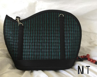 Handmade peacock teal black purse woven grass not bamboo wave shape crossbody or over the shoulder NT