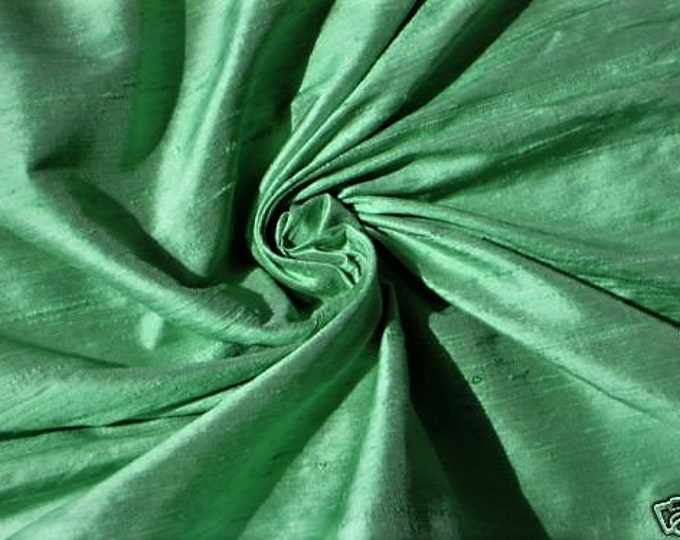 "Unique Green 100% dupioni silk fabric yardage By the Yard 45"" wide"