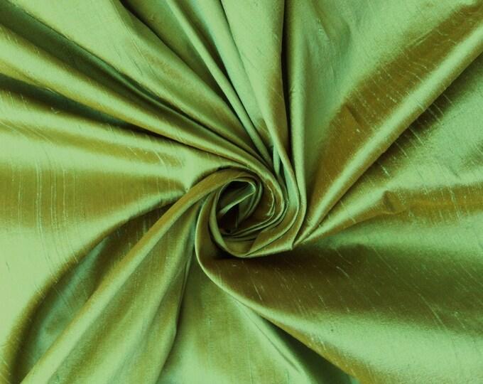 Green Gold iridescent 100% Dupioni Silk Fabric Wholesale Roll/ Bolt