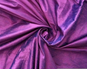 "Lavender Purple Turquoise Blue iridescent 100% dupioni silk fabric yardage By the Yard 45"" wide"