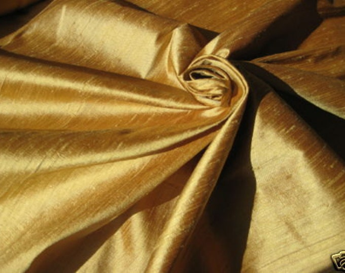"Gold Bamboo 100% dupioni silk fabric yardage By the Yard 45"" wide FREE SHIPPING"