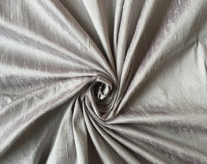 "Silver 100% dupioni silk fabric yardage By the Yard 45"" wide"