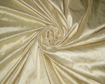 "Light Cream or Beige 100% dupioni silk fabric yardage By the Yard 45"" wide"