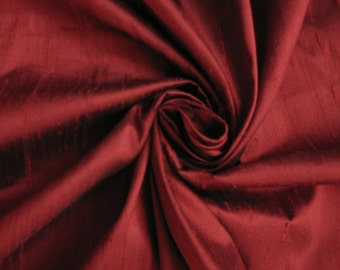 "Burgundy Burgandy Red 100% dupioni silk fabric yardage By the Yard 45"" wide"