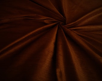 "Chocolate Brown 100% dupioni silk fabric yardage By the Yard 45"" wide"