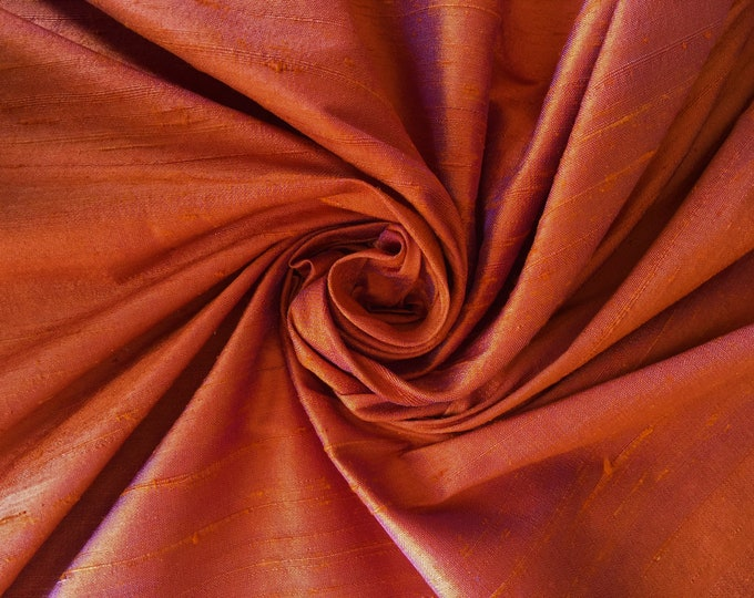 "Orange Violet Purple iridescent 100% dupioni silk fabric yardage By the Yard 45"" wide FREE SHIPPING"