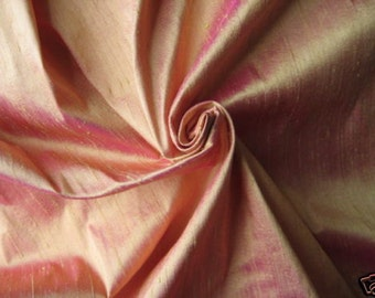 "Light Orange Magenta Pink iridescent 100% dupioni silk fabric yardage By the Yard 45"" wide"