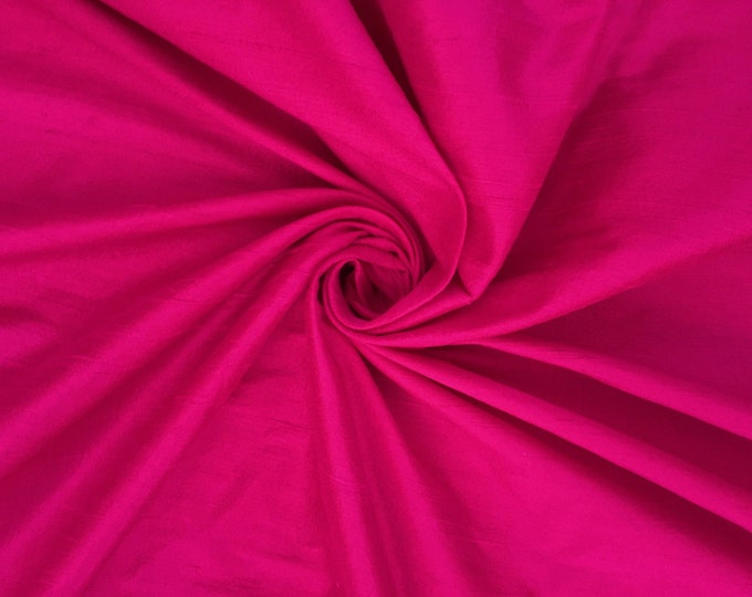 Fuchsia Pink 100% Dupioni Silk Fabric Wholesale Roll/ Bolt
