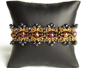 Hand beaded earth tones bracelet, double magnetic closure, crystalicious bronze brown 7.5 inches #103