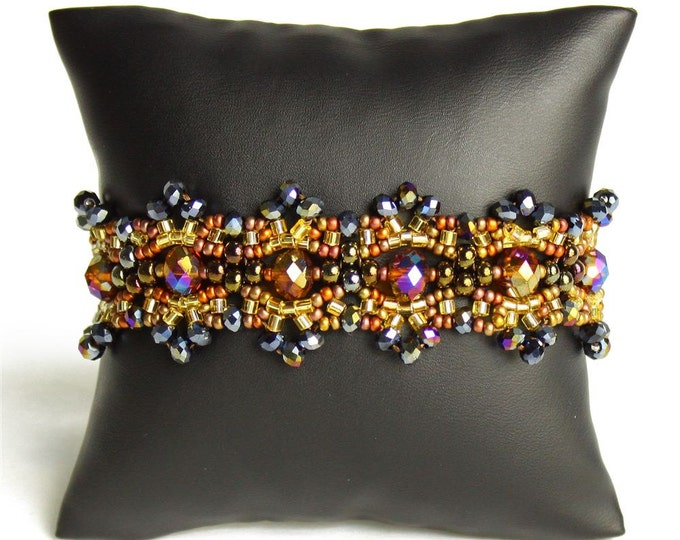 Hand beaded gold copper bronze earth tones bracelet, double magnetic closure, crystalicious 7.25 inches #103