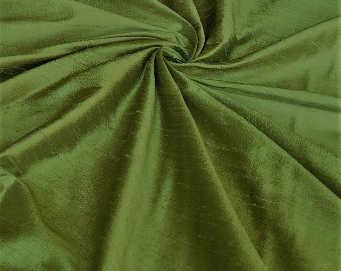 "Sage Green 100% dupioni silk fabric yardage By the Yard 45"" wide"