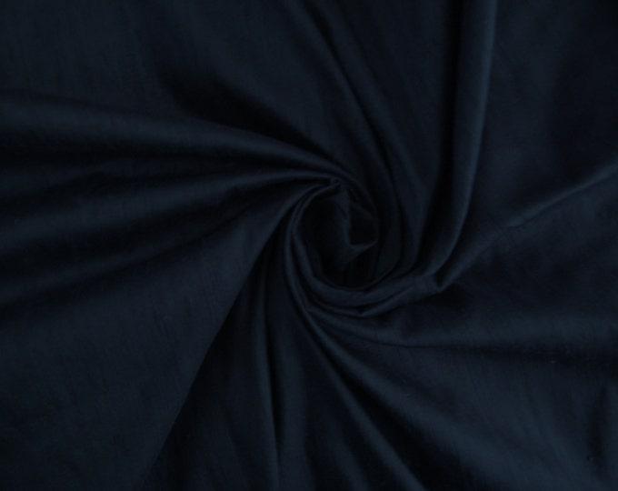 Dark Navy Blue 100% Dupioni Silk Fabric Wholesale Roll/ Bolt 32 yards