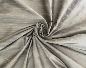 "Light Gray grey 100% dupioni silk fabric *New color as of June 5* yardage By the Yard 45"" wide FREE SHIPPING"