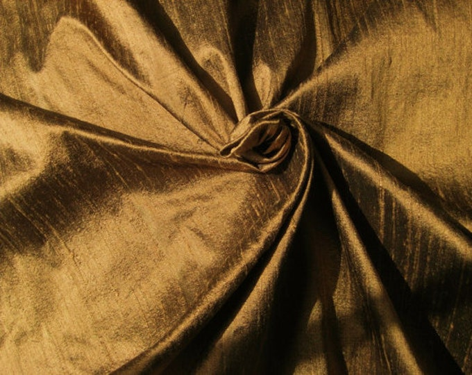 "Copper Brown 100% dupioni silk fabric yardage By the Yard 45"" wide"