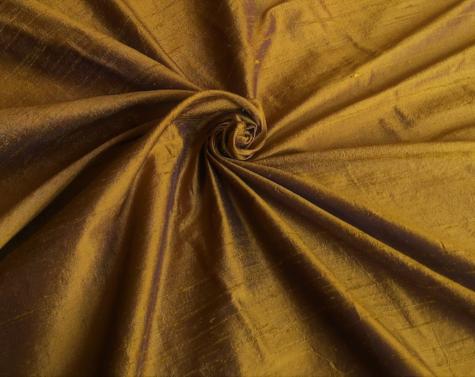 "Topaz Brown 100% dupioni silk fabric yardage By the Yard 45"" wide"