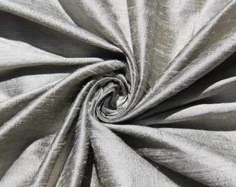 "Pewter 100% dupioni silk fabric yardage By the Yard 55"" wide FREE SHIPPING"