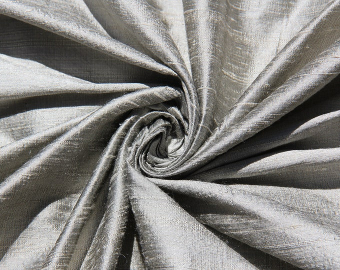 "Pewter 100% dupioni silk fabric yardage By the Yard 55"" wide"