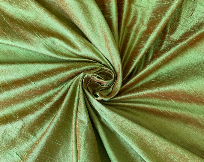 "Green Orange iridescent 100% dupioni silk fabric yardage By the Yard 45"" wide FREE SHIPPING"