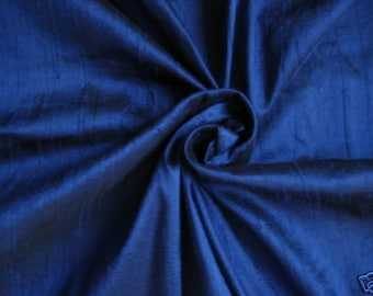 "Royal Blue 100% dupioni silk fabric yardage By the Yard 55"" wide"