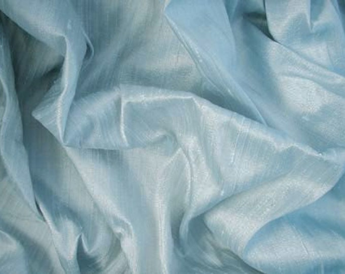 "Light Baby Blue 100% dupioni silk fabric yardage By the Yard 45"" wide FREE SHIPPING"