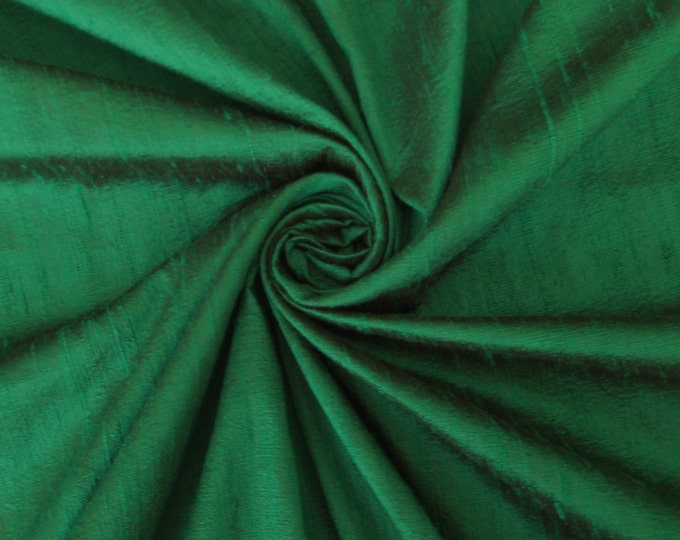 Emerald Green 100% Dupioni Silk Fabric Wholesale Roll/ Bolt