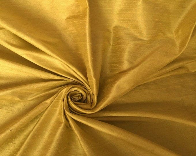 "Gold 100% dupioni silk fabric yardage By the yard 45"" wide"