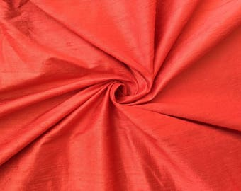 "Coral Orange 100% dupioni silk fabric yardage By the Yard 45"" wide"