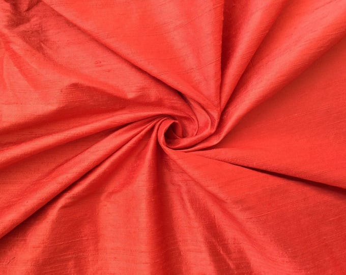 "Coral Orange 100% dupioni silk fabric yardage By the Yard 45"" wide FREE SHIPPING"