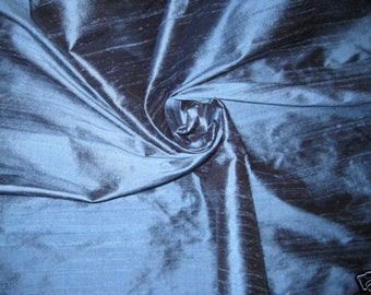 "Rich Blue 100% dupioni silk fabric yardage By the Yard 45"" wide"