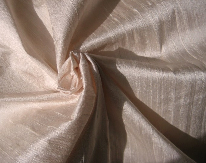 "Ivory Light Pale Pink Bridal 100% dupioni silk fabric yardage By the Yard 45"" wide FREE SHIPPING"