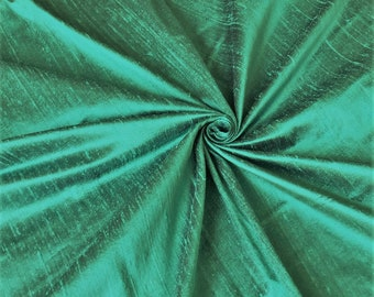 "Green 100% dupioni silk fabric yardage By the Yard 45"" wide"