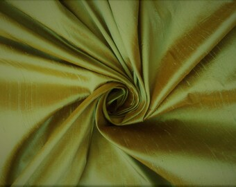"Gold Green iridescent 100% dupioni silk fabric yardage By the Yard 45"" wide FREE SHIPPING"