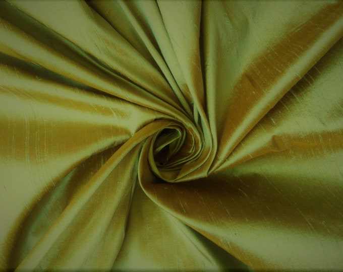 "Gold Green iridescent 100% dupioni silk fabric yardage By the Yard 45"" wide"